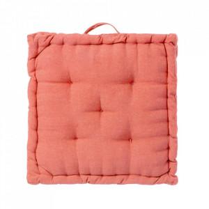Perna patrata rosu corai din poliester si bumbac pentru sezut 45x45 cm Loving Colours Unimasa