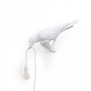 Aplica alba din rasina Bird Looking Seletti