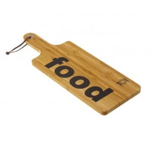 Tocator dreptunghiular maro din lemn de bambus 17x47 cm Food Unimasa