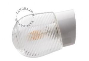 Aplica alba/transparenta din portelan si sticla pentru exterior Duncan Clear Zangra