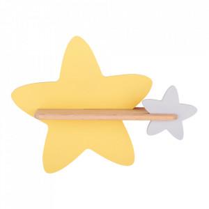 Aplica cu raft multicolora din lemn de fag si MDF cu LED Star Golden Grey Candellux