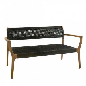 Banca neagra/maro din lemn tec si polipropilena 138 cm Reva Pols Potten