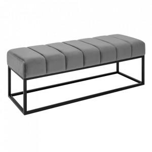 Bancheta gri/neagra din catifea si metal 108 cm Beaute Invicta Interior