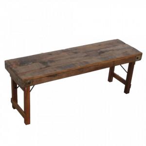Bancheta maro din lemn 120 cm Becca Raw Materials