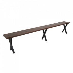 Bancheta maro/neagra din lemn reciclat si metal 260 cm Gandoh Raw Materials