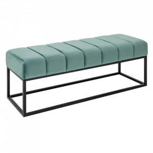 Bancheta verde menta/neagra din catifea si metal 108 cm Beaute Invicta Interior