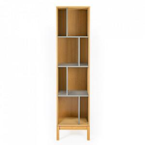 Biblioteca maro/gri din PAL si MDF 185 cm Abbeywood Woodman