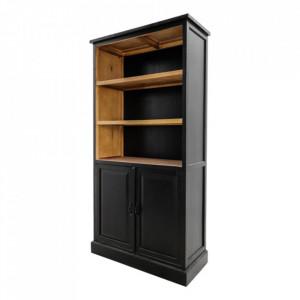 Biblioteca neagra din lemn 180 cm Serena HSM Collection
