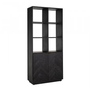 Biblioteca neagra din lemn de stejar si inox 220 cm Blackbone Richmond Interiors