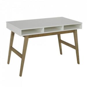 Birou alb/maro din MDF si lemn 66x120 cm Trendy Quax