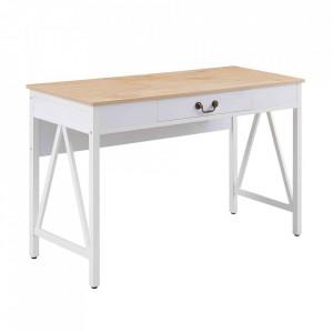 Birou alb/maro din PVC si metal 45x120 cm Tokyo Versa Home