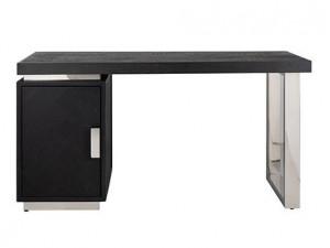Birou negru/argintiu din lemn si inox 70x150 cm Blackbone Richmond Interiors