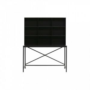Birou negru din metal si lemn 70x125 cm Elwin Woood