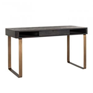 Birou negru/maro alama din lemn de stejar si inox 60x140 cm Blackbone Richmond Interiors