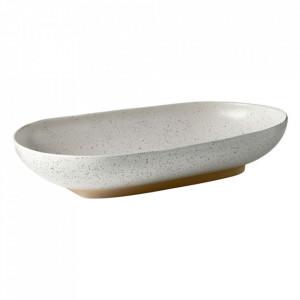 Bol alb/bej nisipiu din ceramica 24x40 cm Forma Bolia