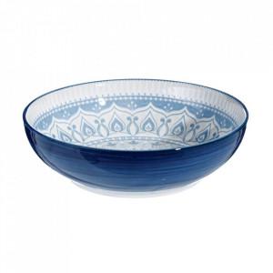 Bol pentru salata alb/albastru din portelan 25 cm Buckland Ixia