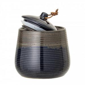 Borcan albastru din ceramica cu capac 750 ml Stone Bloomingville