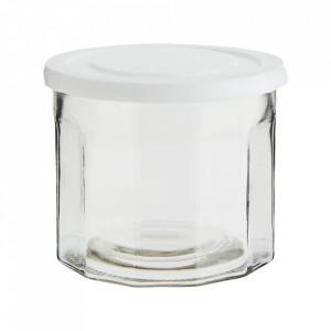 Borcan cu capac alb/transparent din sticla si plastic 13x11 cm Madam Stoltz