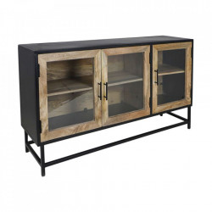 Bufet inferior maro/negru din lemn de mango si fier 140 cm Dublin HSM Collection