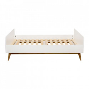 Cadru pat alb din MDF si lemn 95x205 cm Trendy Quax