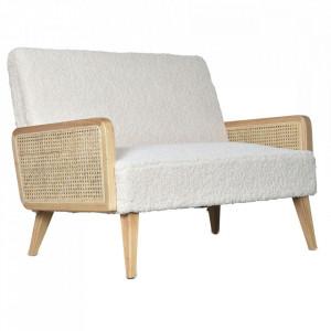 Canapea alba/maro din blana si lemn pentru 2 persoane Synergie Opjet Paris