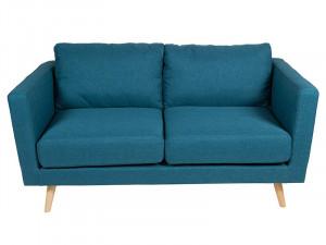 Canapea albastra 2 persoane din poliester si lemn Tenas Santiago Pons