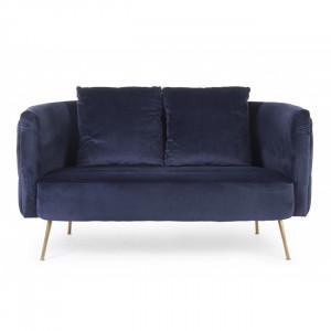 Canapea albastra/aurie din catifea si inox pentru 2 persoane Tenbury Bizzotto