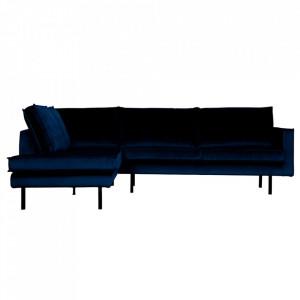 Canapea albastru inchis din catifea cu colt 266 cm Rodeo Left Be Pure Home