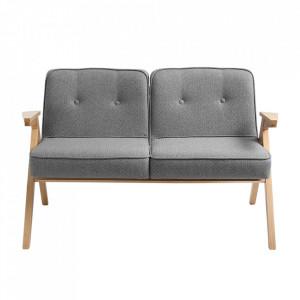 Canapea argintie/maro din poliester si lemn pentru 2 persoane Vinc Custom Form