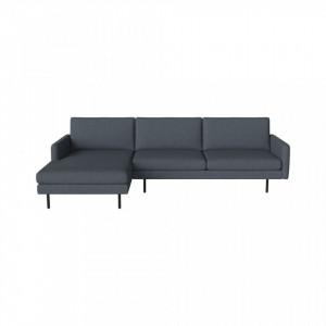 Canapea cu colt albastru prafuit din poliester si lemn 276 cm Scandinavia Remix Left Bolia