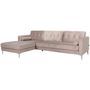 Canapea cu colt bej din catifea si inox pentru 2,5 persoane Louissa Richmond Interiors