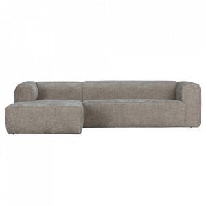 Canapea cu colt crem din poliester si lemn 305 cm Bean Melange Left Woood