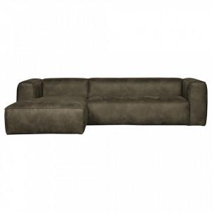 Canapea cu colt din piele verde army 305 cm Bean Left Woood