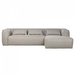 Canapea cu colt gri deschis din poliester si bumbac 305 cm Bean Right Woood
