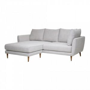 Canapea cu colt gri din poliester si lemn 216 cm Miles Bloomingville