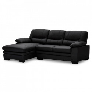 Canapea cu colt neagra din piele si metal pentru 3 persoane Moby Left Furnhouse