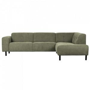 Canapea cu colt verde din poliester si lemn 275 cm Presley Right Woood