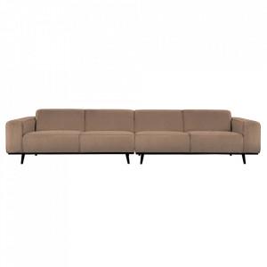 Canapea din poliester si lemn pentru 4 persoane Statement Boucle Nougat Extra Be Pure Home