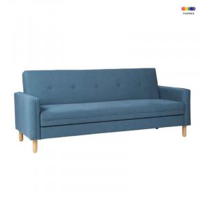 Canapea extensibila albastra din lemn de pin si poliester pentru 2 persoane Delhi Blue Somcasa
