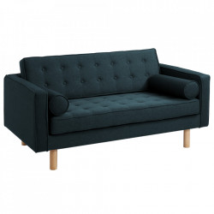 Canapea extensibila albastra din poliester si lemn pentru 2 persoane Topic Wood Deep Sea Custom Form