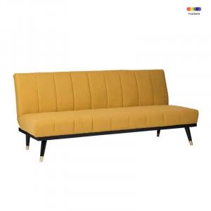Canapea extensibila galbena din lemn de pin si poliester pentru 2 persoane Madrid Yellow Somcasa