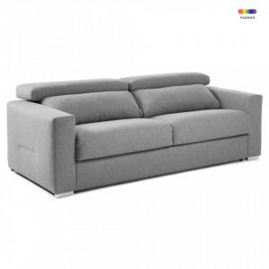 Canapea extensibila gri deschis din textil si metal 224 cm Queen Poli La Forma