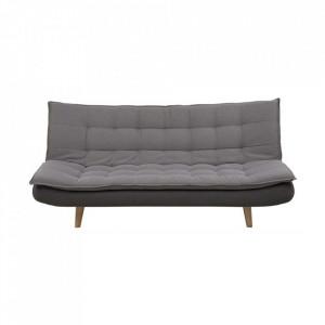 Canapea extensibila gri inchis/maro din lemn si poliester 195 cm Gozzano Actona Company
