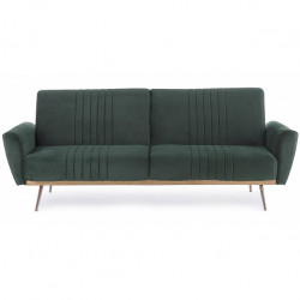 Canapea extensibila verde din catifea si lemn 210 cm Johnny Bizzotto