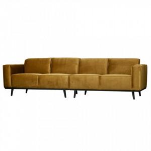 Canapea galbena din catifea pentru 4 persoane Statement Honey Be Pure Home