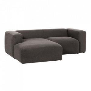 Canapea gri din fibre acrilice si lemn de pin cu colt pentru 2 persoane Blok Left La Forma