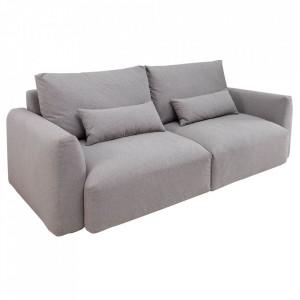 Canapea gri din poliester si lemn pentru 3 persoane Hamptons Invicta Interior