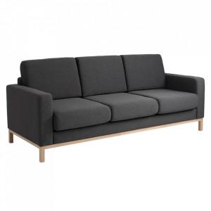 Canapea gri din textil si lemn pentru 3 persoane Scandic Custom Form