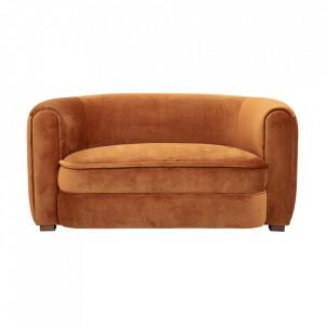 Canapea maro din catifea si lemn de pin 152 cm Malala Creative Collection