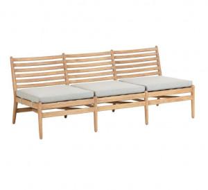 Canapea maro din lemn de eucalipt pentru exterior 3 persoane Simja La Forma